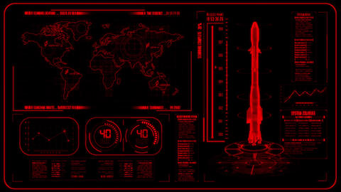 3D Red HUD Rocket Interface Motion Graphic Element Stock Video Footage