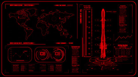 3D Red HUD Rocket Interface Motion Graphic Element Animation