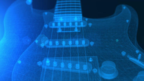 Animation of a blue wireframe 3D electric guitar Animation