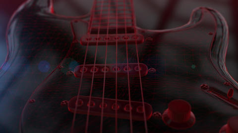 Animation of red wireframe 3D electric guitar Animation