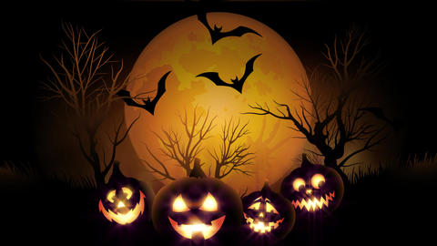 animation of spooky Jack-o-lantern Halloween pumpkins with flying bats with Animation