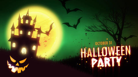 Halloween Party invitation animation of a spooky haunted house with Jack-o Animation