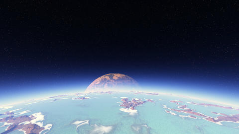 [alt video] 3D space animation of flight around planet with big moon