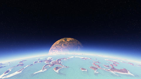 3D space animation of flight around planet with big moon Animation