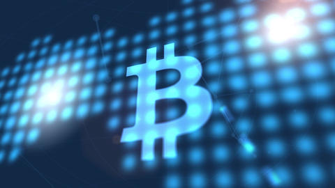 bitcoin cryptocurrency icon animation blue digital world map technology Animation