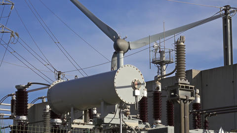 Spinning wind turbine and electrical equipment Footage