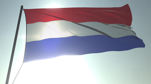 Waving flag of the Netherlands against shining sun and sky. Realistic loopable Footage