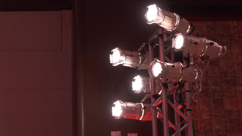 Low angle view of stage lights at a conference Footage