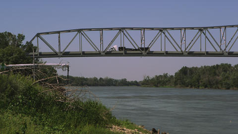 Panning view of bridge over the Missouri River Footage