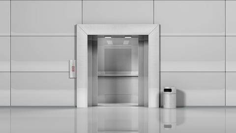 Office building elevator opens and closes doors Animation