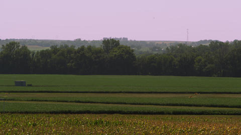 Panning view of the landscape near Auburn Nebraska Footage
