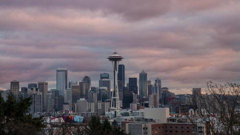 Time lapse looking toward downtown Seattle and the Space Needle at Sunset Footage