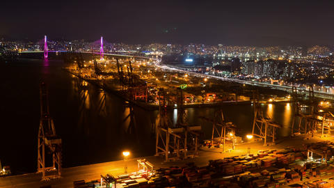 Container Terminal, Night View 4K Timelapse, Busan in South Korea Footage