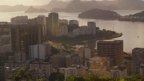 A city view of Rio de Janeiro and traffic on Avenida das Nacoes Unida Footage