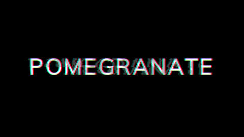 From the Glitch effect arises fruit POMEGRANATE. Then the TV turns off. Alpha channel Premultiplied Animation