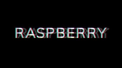 From the Glitch effect arises fruit RASPBERRY. Then the TV turns off. Alpha channel Premultiplied - Animation