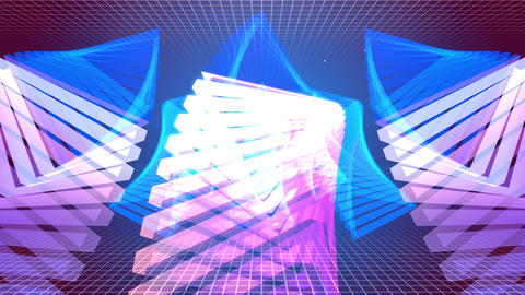 Flying Tunnel Triangle Light Retro 09 4K Animation