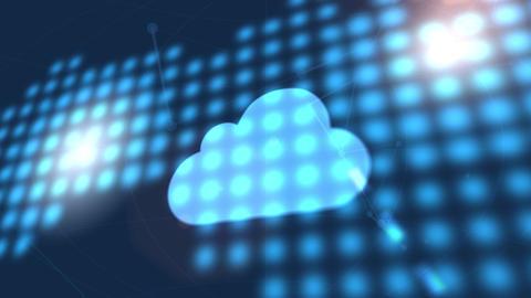 cloud data icon animation blue digital world map technology background Animation