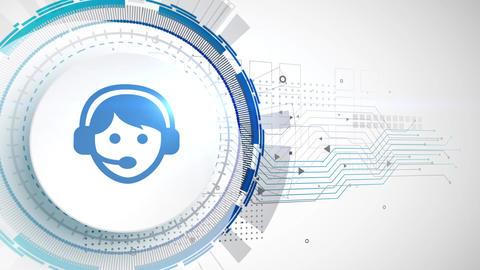 phone communication icon animation white digital elements technology background Animation