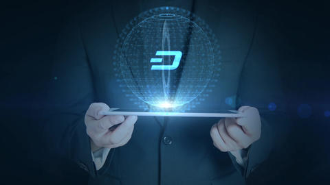 business man holding tablet hologramm hud projection dash cryptocurrency icon Animation