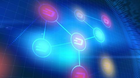 dash cryptocurrency icon animation blue digital elements technology background Animation