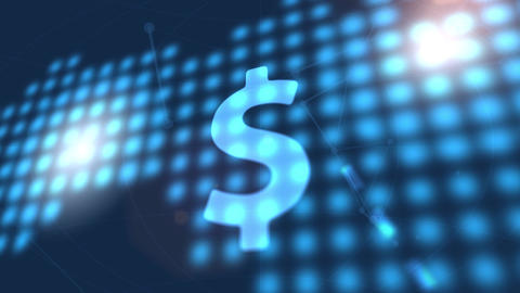 dollar currency icon animation blue digital world map technology background Animation