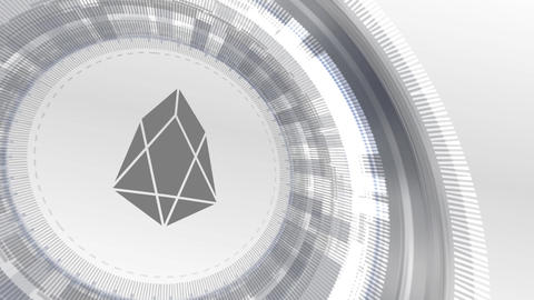 EOS cryptocurrencyicon animation white digital elements technology background Animation