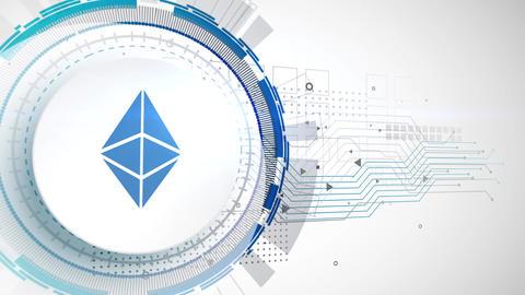 ethereum cryptocurrency icon animation white digital elements technology Animation