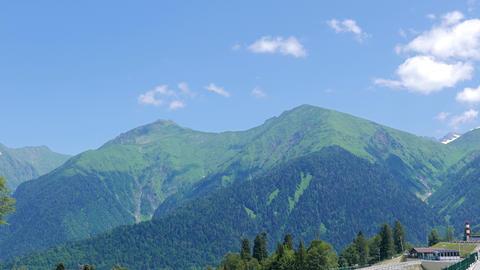 Glitch effect. Gazprom complex, mountain view. Sochi, Russia GIF