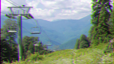 Glitch effect. Do not move the Chairlift at the ski slope. Sochi, Russia Footage