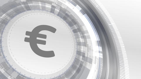 euro currency icon animation white digital elements technology background Animation