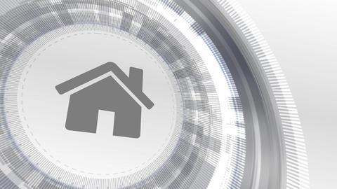 home house icon animation white digital elements technology background Animation
