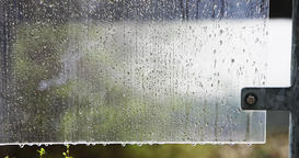 Raindrops on Plastic Surface in Time Lapse Footage