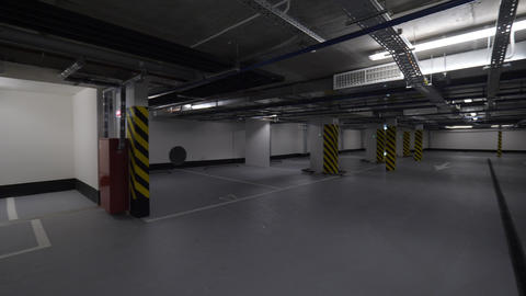 Underground car park with lots of empty space Footage