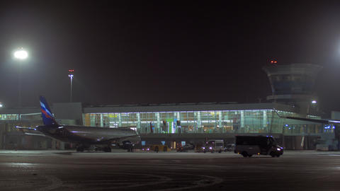 Aeroflot aircraft A320 taxiing at Sheremetyevo Airport, night view Footage