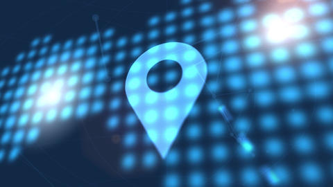 location icon animation blue digital world map technology background Animation