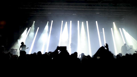 Strobe lights beautiful ilumination of the stage at a rock festival Live Action