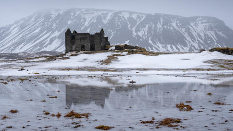 Lost place and mountain, winter in Iceland, Europe フォト
