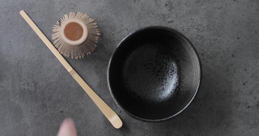 Making Matcha tea in kitchen POV Archivo