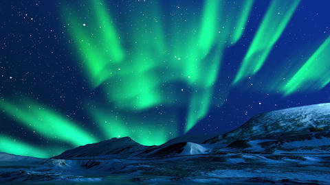 Northern lights curtains in mountains Animation