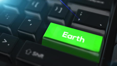 Animation close up computer keyboard with Earth Button Animation