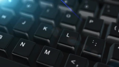 Animation close up computer keyboard with Search Button Stock Video Footage