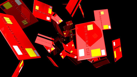 Red Credit cards on black background Animation