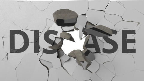 Breaking concrete wall with painted DISEASE word. Conceptual 3D animation Footage