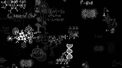 Flying science formulas on black background Animation