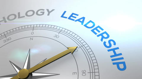 Compass with the text LEADERSHIP right path, concept…, Stock Animation