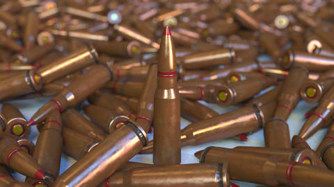 Many rifle cartridges. Realistic 3D animation Live Action