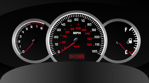 Car Dashboard computer, speedometer, tachometer and fuel usage Animation