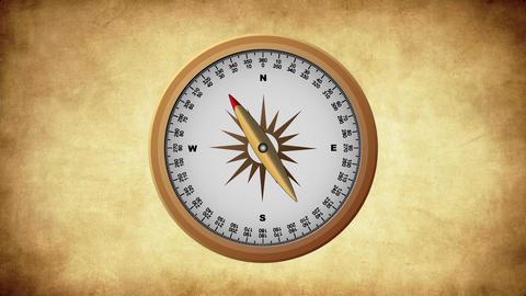 Golden Old Compass pointing Cardinal Points Animation
