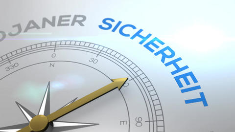 Compass with text - SICHERHEIT - german word for SECURITY - right path, concept Animation